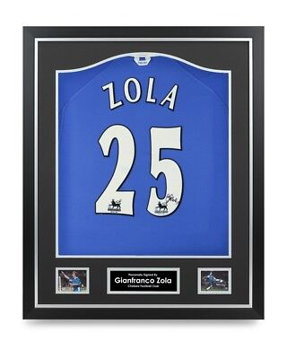 02e747bef Gianfranco Zola Signed Shirt Chelsea Framed Autograph  25 Jersey  Memorabilia COA