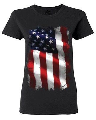 Large American Flag Patriotic Women's T-Shirt 4th of July USA Flag Shirts ()
