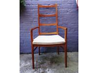 Vintage Danish 60s Ladder Back Chair Arm Chair Mid Century Retro