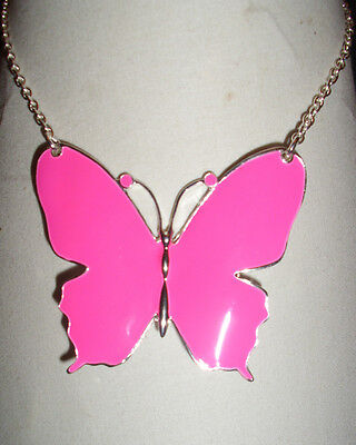 A Lovely Large Enamel Pink Butterfly Pendant Necklace Silver Tone Chain