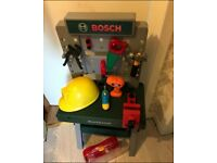 Kids BOSCH workstation with tools and helmet..............smoke free home