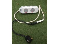 2 X electric socket cable plug OE electric LTD white office