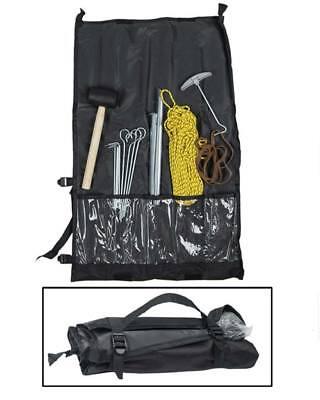 Juego camping montaje tienda piquetas martillo goma y cuerda bolsa transporte