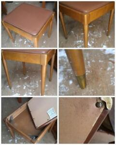 "Solid Wood Stool 17""x15""x18""h / MCM Midcentury Retro Vintage Padded Top Tapered Legs Metal Feet 1960s Teak or Walnut"