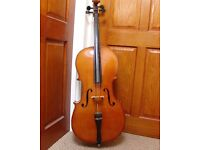 THREE QUARTER SIZE 3/4 STUDENT CELLO. Boosey & Hawkes ARTIA. Complete with case, bow and new Rosin