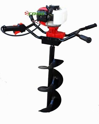 Two Man Post Earth Hole Digger Drill Planting 52cc Gas Engine W 10 Auger Bit