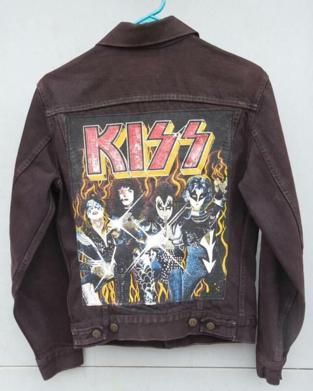 Vintage SMALL Black Levis Red Tab Jacket / Kiss Back Patch with *ERIC CARR* RARE