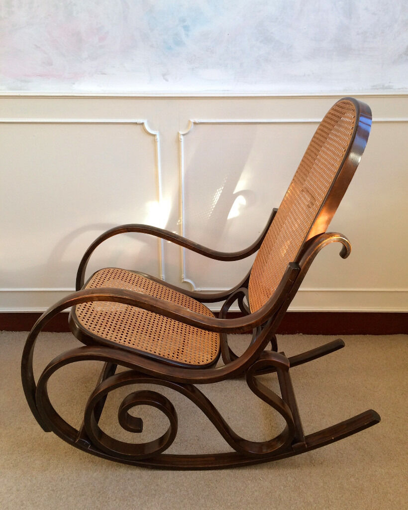 Scrolled Bentwood Rattan Rocking Chair Living Room Conservatory Nursing Seat