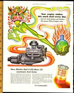 Large 1952 full-page, color print ad for Shell x-100 Motor Oil