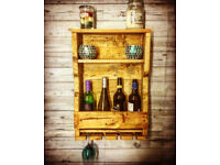 Lovely Handmade Rustic Wine Rack with Glass Holders