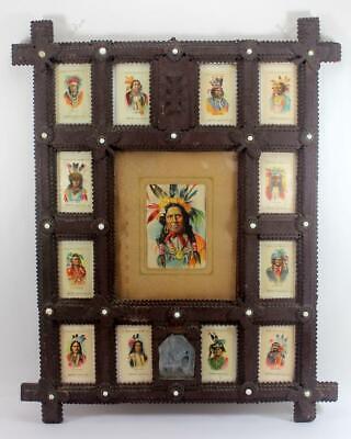 1910 Tokio Cigarette Indian Chief Silks w/ Tramp Art Frame Sitting Bull, Geronimo