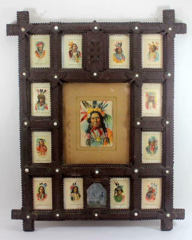 1910 Tokio Cigarette Indian Chief Silks w/ Tramp Art Frame Sitting Bull,Geronimo
