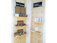 Peg board shelving display system