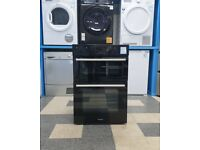 Q5467 black hotpoint built in double electric oven with warranty can be delivered or collected
