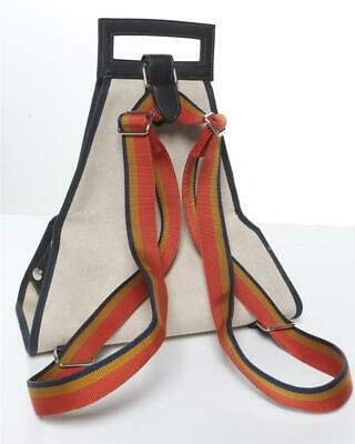 HERMES Cavalier Toile Canvas Striped Straps Carrier Backback Bag Tote NEW