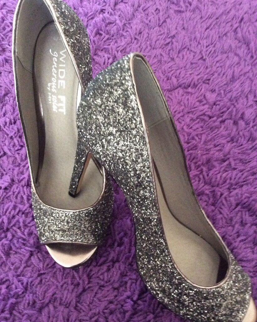 Bridal Shoes Yorkshire: Brand New NEXT Peep-toe Silver Dark Grey Glitter Heel