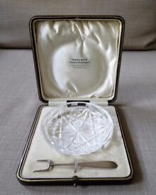 Old English Massive Silver Unusual Fork & Crystal Tray Terry &Co in a Gift Box