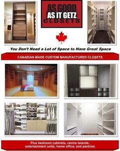 100% CANADIAN MADE CUSTOM MANUFACTURED CLOSETS! FREE QUOTES! LIFE TIME WARRANTY! FREE DESIGN CONSULTATION!