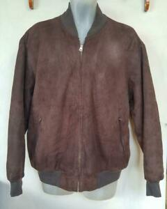 PAUL SMITH $2000 Buttersoft Bomber Jacket Mens LARGE L 42 44 Dark Brown EUC Fall Coat Lightweight Suede Leather Stocky