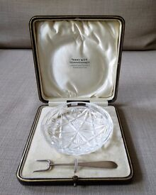 Old English Massive Silver Crystal Tray made by Terry &Co in a Gift Box