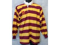 "Mens Raging Bull Stripe Long Sleeve Rugby Jersey Polo Shirt Top Size 42"" (#4877)"