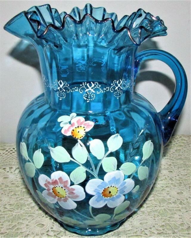 Antique Victorian Blue Glass Pitcher Enamel & Gilt Hand Painted Globular Form