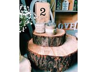 WEDDING HIRE venue decorations,rustic,vintage,hessian runners, post boxes, ladders,tree log slices