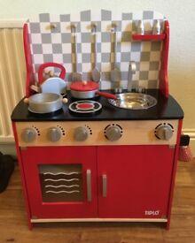 Tidlo Wooden Red Toy Kitchen & Utensils