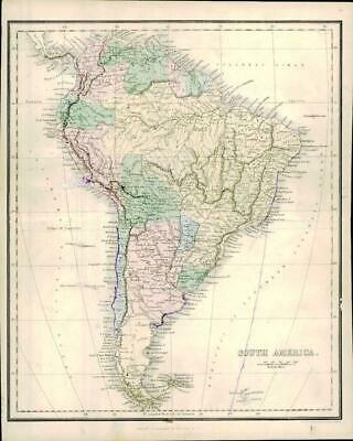 1858 Engraved Colour Map of SOUTH AMERICA FOR USE OF SCRIPTURE STUDENTS (MA4)