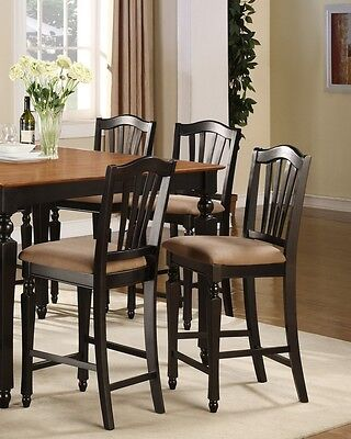 Set of 4 kitchen counter height chairs with microfiber upholstered seat in black