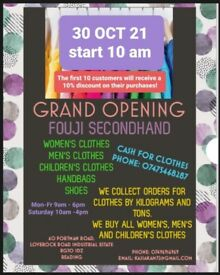 GRAND OPENING SECONDHAND!