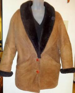 RARE Retro 100% Sheepskin Shearling Jacket Coat Womens M L 38 40 12 Canada Brown Black I SELL RARE VINTAGE CLOTHING