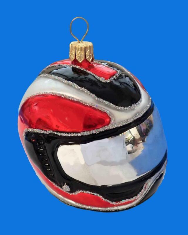 RED BLACK MOTORCYCLE HELMET EUROPEAN GLASS CHRISTMAS TREE ORNAMENT SNOWMOBILE