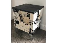 Cowhide and leather side table
