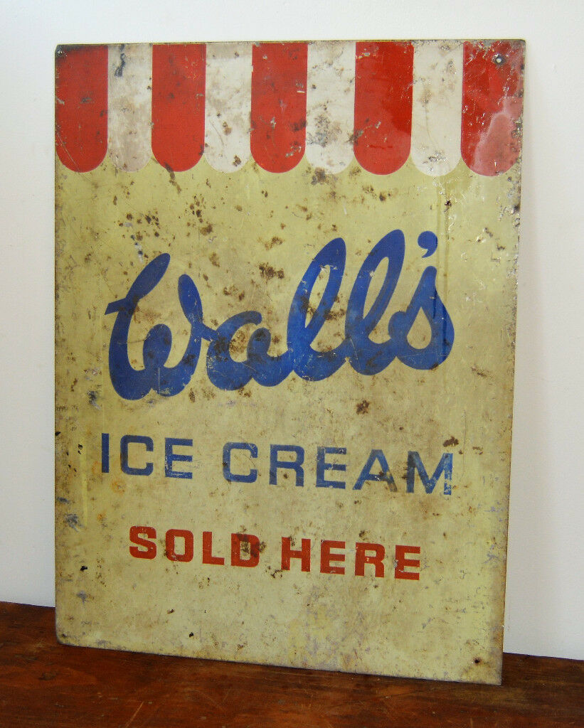 Vintage Walls ice cream decor shop display sign tin enamel advertising  mancave garage metal kitchen