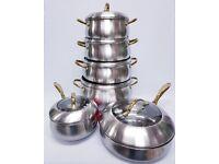 6PC STAINLESS STEEL COOKING PAN SET