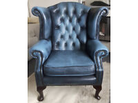 Chesterfield Queen Anne Wing Back Armchair in Antique Blue
