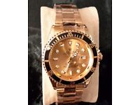 ROLEX SUBMARINER ALL GOLD AND BLACK MENS WATCH