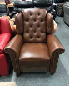 Brown real leather manual recliner fireside armchair
