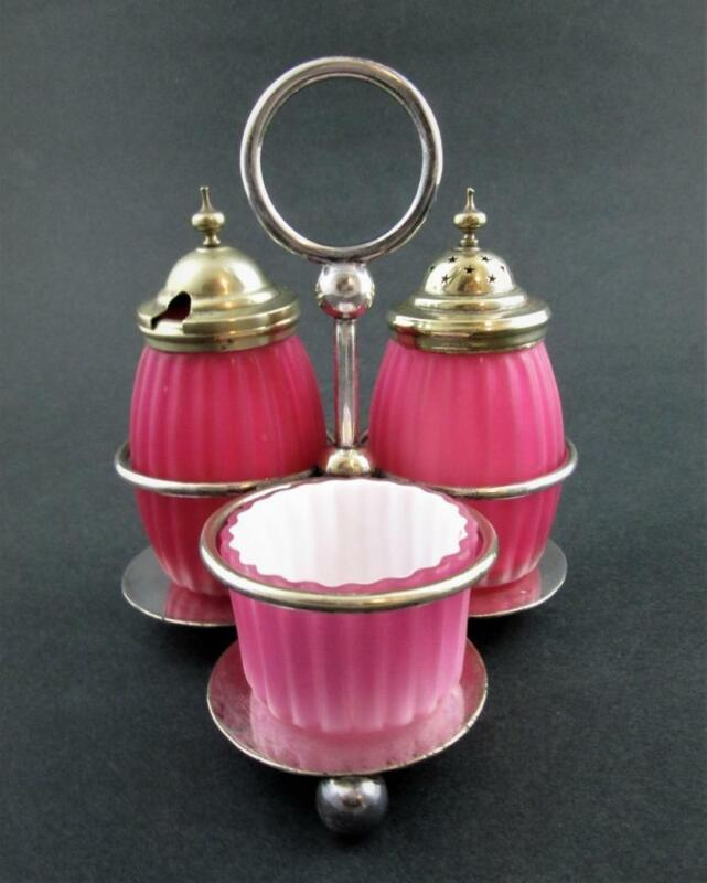 PINK cased RIBBED Satin Art GLASS - antique CONDIMENT Set - WB&Co Sheffield A1