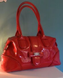 LK Bennett Red Patent Leather Bag Used size approx 15x8' inches good condition