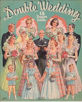 VINTAGE UNCUT 1939 DOUBLE WEDDING PAPER DOLLS ~HD LASER REPRODUCTION~LO PR~HIQ