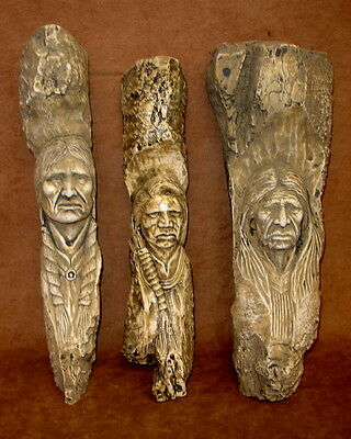 Native American Indian Chief Face Carved on Tree Wall Plaque Set of 3