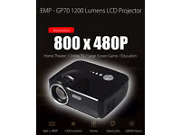 BRAND NEW,GP70 1200LM Mini Portable Video Projector 1080P Home Cinema Theater 3D Game TV