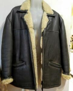 MENS LARGE+ SHEARLING COAT 44 46 Reg L Dark Brown Leather Jacket Cream Wool Winter Warm Vintage Retro Rancher