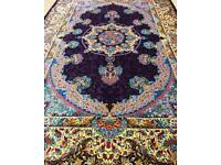 Persian silk rug Qom, furniture