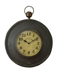 Vintage Antique Style Rustic Metal Large Pocket Watch Wall Clock By Park Designs