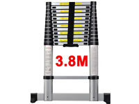 NEW 3.8m ALUMINIUM MULTI PURPOSE TELESCOPIC EXTENDABLE LADDER WITH STABILISER BAREN-131 HOME WORK