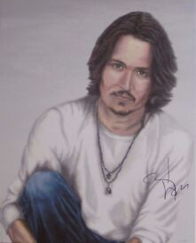 JOHNNY DEPP Original Painting, AUTOGRAPHED by HIM - with video proof