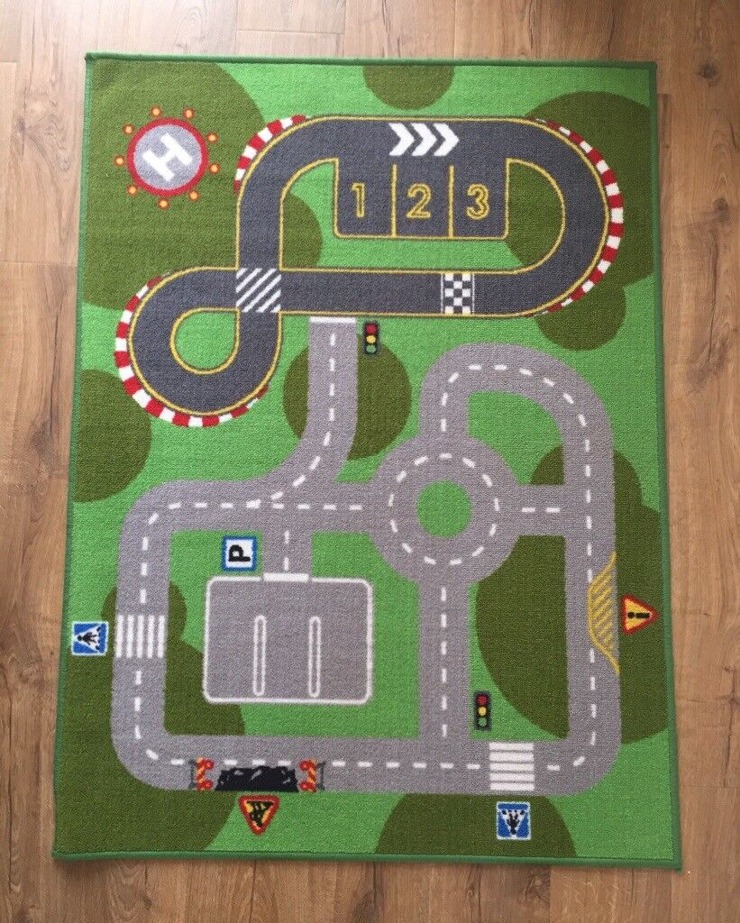 Childrens Rug For Nursery Playroom Car Track Carpet Great Condition